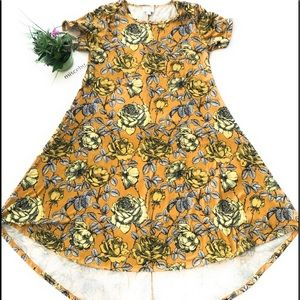 LulaRoe Carly Dress Floral XS Yellow Black white